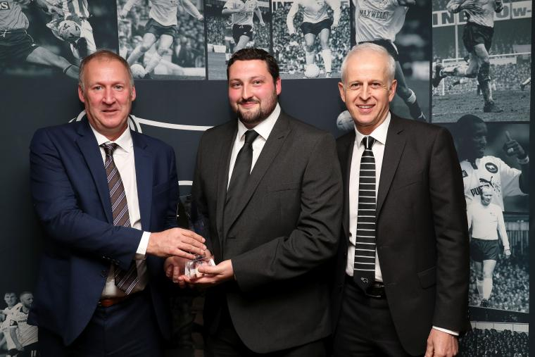DCFC groundsman Nathan Scarff receives the Brian Clough Award 2017