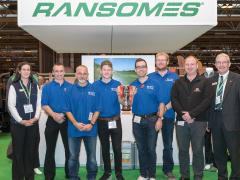 SALTEX College Cup winners, CAFRE, with Ramsones' marketing and comms manager Karen Proctor (left), IOG learning manager Dan Prest (second from right) and Ransomes' MD Alan Prickett (right)
